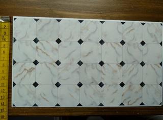 Bodenbelag Marmor-Imitation, weiss/beige/schwarz