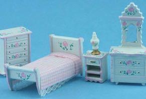 Schlafzimmer 1 : 48 (weiss/rosa). Kunststoff weiss handbemalt/St