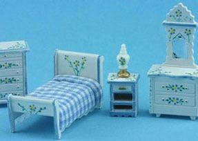 Schlafzimmer 1 : 48 (weiss/blau). Kunststoff weiss handbemalt/St